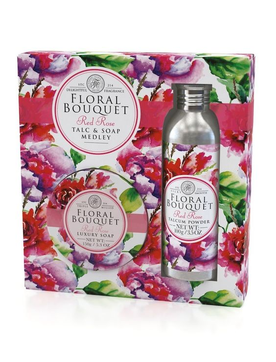 NEW: Red Rose Floral Bouquet Talc & Soap Medley! Feel truly pampered with a light sprinkling of Floral Bouquet talc and a luxury triple milled soap. Our perfected blend brings nourishment with a lasting fragrance. Choose from four uplifting fragrances to take you on a journey through flower-filled meadows. Available to buy on our UK website.