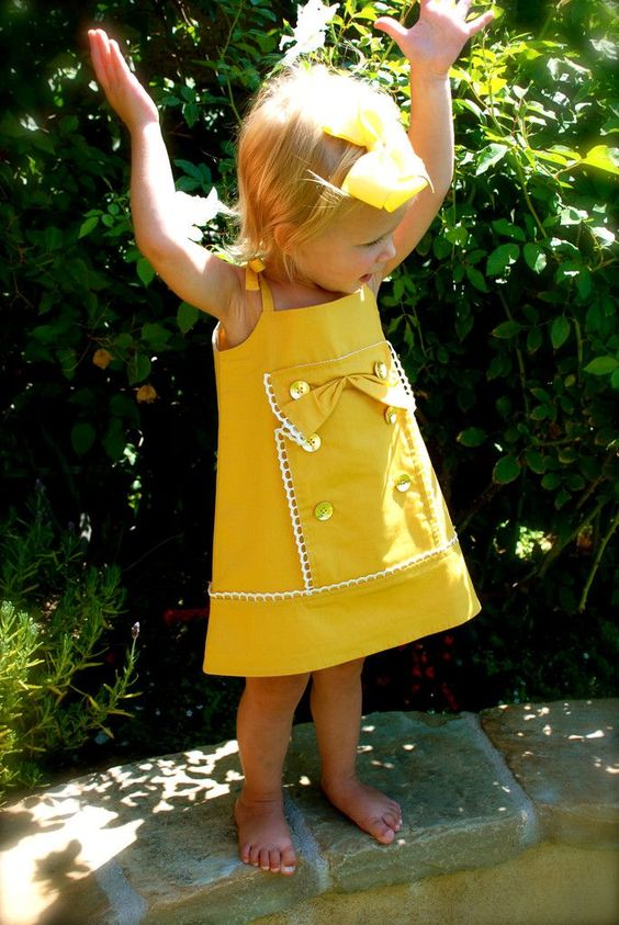 Sunshine Shift-yellow dress for baby, toddler and girl. My favorite! www.lapetitecouture.com