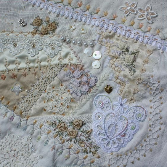 I ❤ crazy quilting . . . close up wedding gift CQ- By peltolaritva I love the look of whites and ivories..: