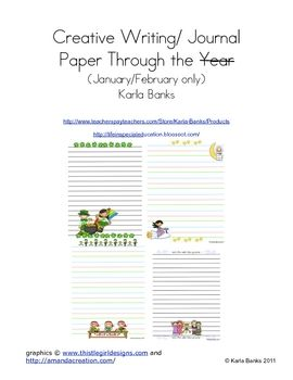 This file is part of a larger file that has paper and writing prompts that cover the entire year.  This file has 19 creative writing pages for Janu...
