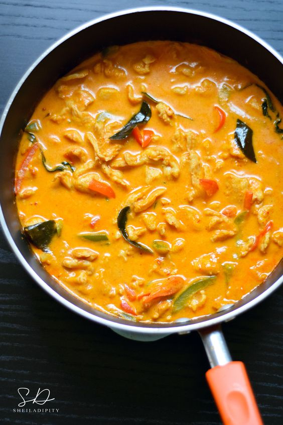 Chicken Panang Curry.  Enjoy this dish served with jasmine rice!