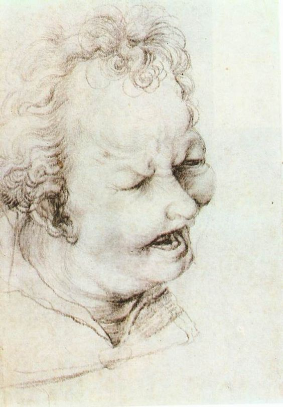 GRÜNEWALD, Matthias Head of a Shouting Man c. 1520 Black chalk on yellow-brownish paper, 276 x 196 mm Staatliche Museen, Berlin