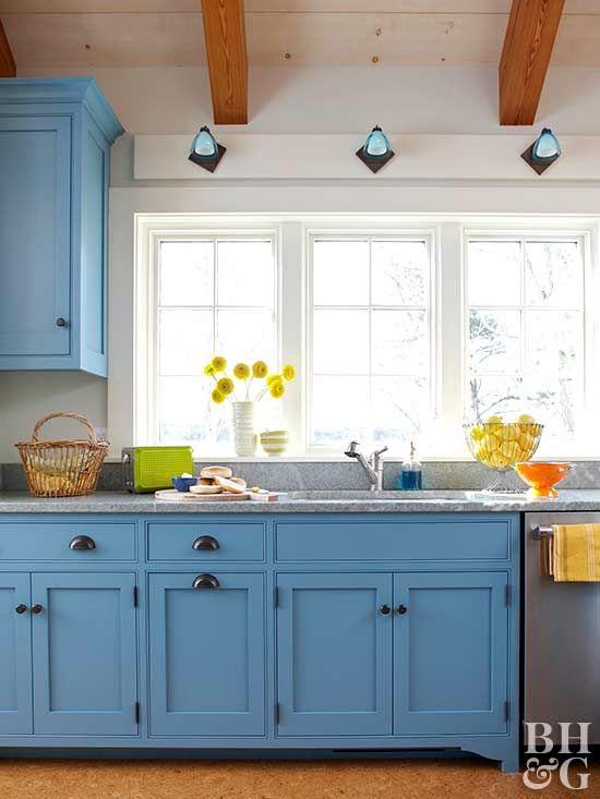 Blue Kitchen Cabinets And Window By Elizabeth Swartz Interiors
