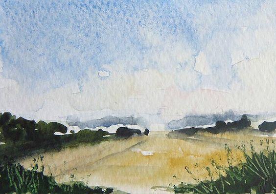 ORIGINAL Miniature Watercolour Painting Landscape by studiohydeart #original #artwork #watercolour #painting #watercolor #landscape #art #etsy