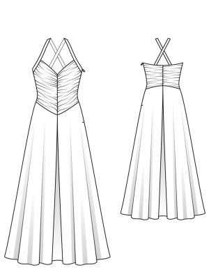 evening dress technical drawing