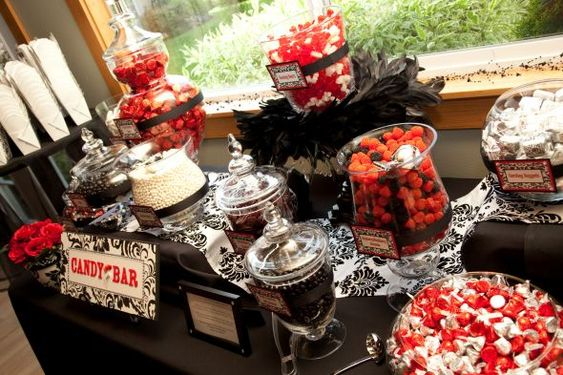 black white and red wedding reception tables | Chick's Candy Buffet | Weddingbee DIY Projects