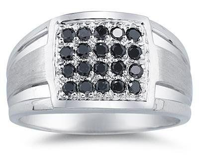1/2 Carat Black Diamond Men's Ring in White Gold Szul. $303.88