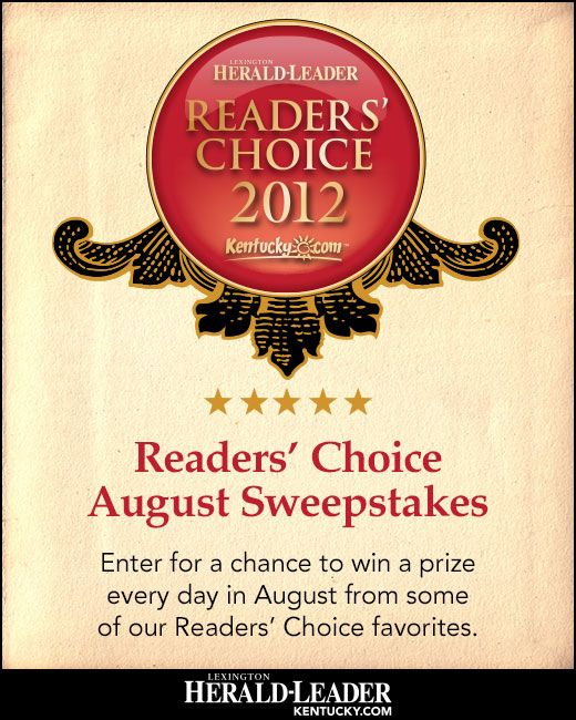 Kentucky.com is giving away great gifts every Friday in August during our annual Readers' Choice Sweepstakes! Enter now at http://woobox.com/u4744w for a chance to win one of 32 prizes from some of your favorite Central Kentucky businesses. See a complete list of prizes at http://www.kentucky.com/contests.