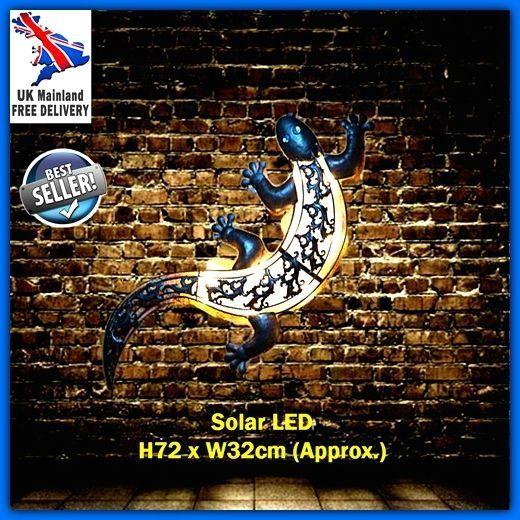 Gecko Lizard Ornament Solar Light LED Metal Wall Art Sculpt