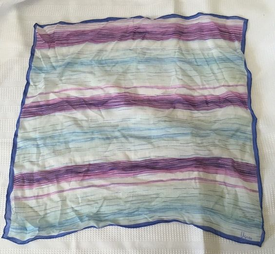 "Vintage Vera 100% Silk Handrolled Linear Lines Abstract Scarf 20"" x 20"" by Tindashop on Etsy"