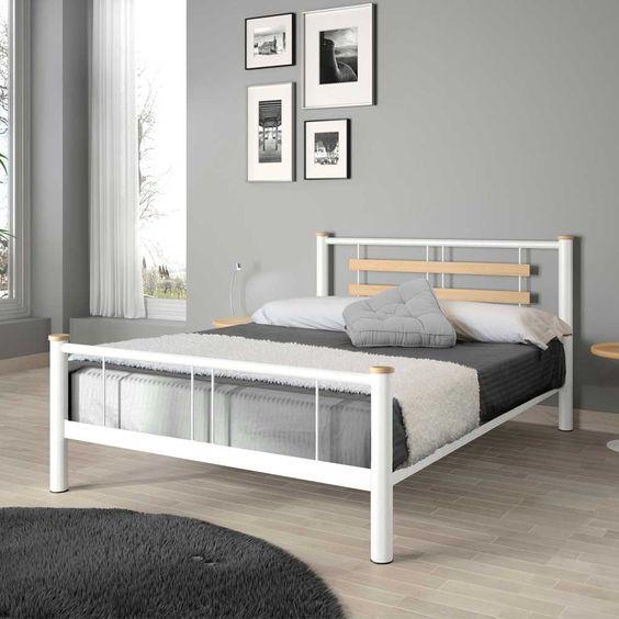 romantisch bed florence en finition nickel noir maat 140 160 180