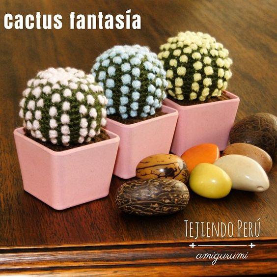 Amigurumi Cactus Paso A Paso : Cactus fantas�a redondos con espinas de colores pastel