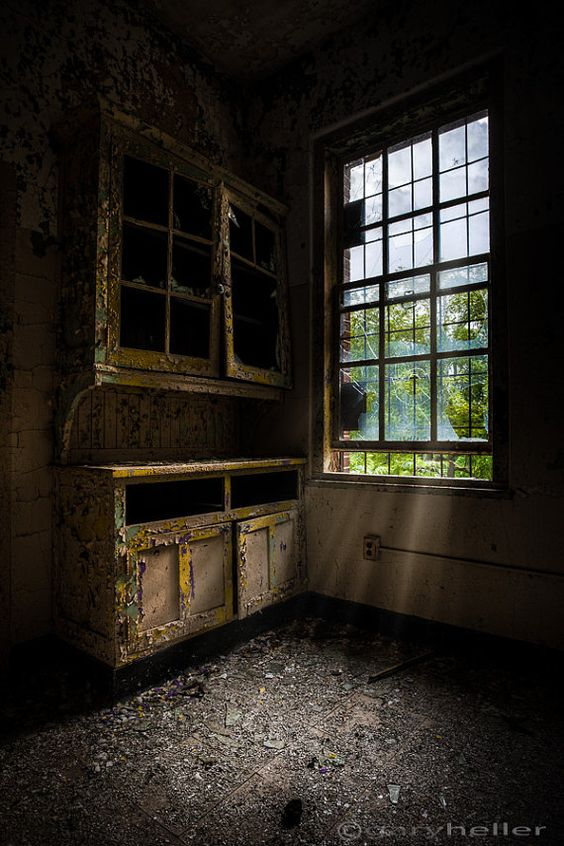 dark empty cabinets - abandoned asylum, fine art print of a window shining light on dark empty cabinets in an abandoned building, signed. on Etsy, $29.00