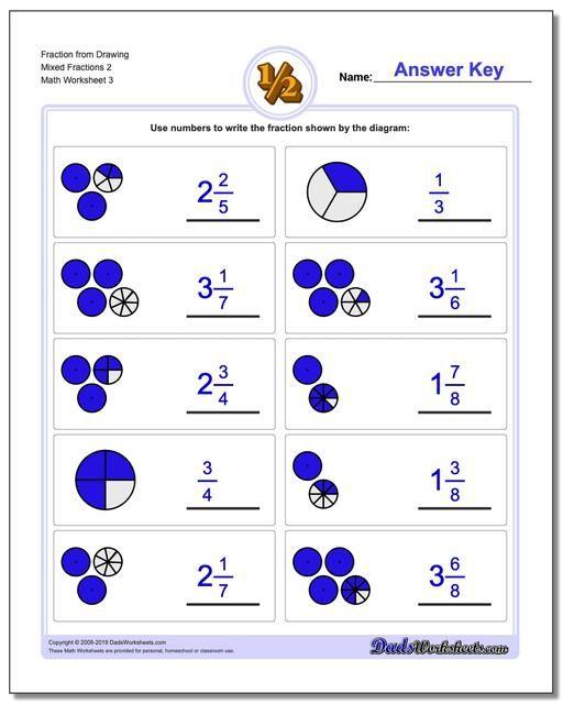 Https Www Dadsworksheets Com Fraction Worksheet From Drawing Mixed Fractions 2 Fractions Worksheets Simple Fractions Fractions