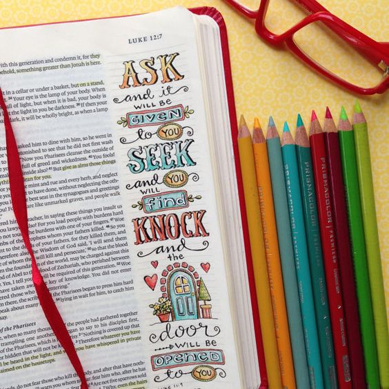 Originally drawn and colored in my ESV Journaling Bible... these four (4) original Bible Verse Bookmarks are ready for you to print and color