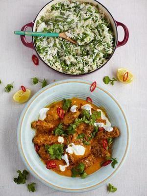 Ein köstliches Rezept von Jamie Oliver: Hackröllchen in Currysauce mit Reis, Bohnen und Erbsen