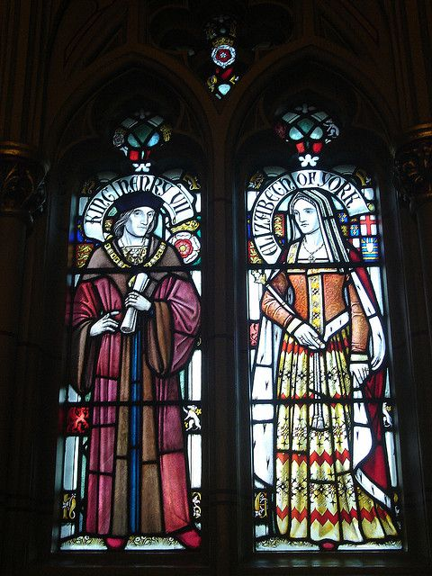 Stained glass images of Henry VII & Elizabeth of York at Cardiff Castle, Cardiff, Wales.: