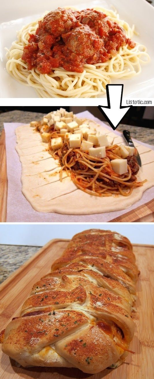 Leftover Spaghetti Braid Why not combine buttery garlic bread with leftover pasta into something you can eat with your hands! Just add in some cheese to your leftover spaghetti to easily make this spaghetti braid using pre-made frozen dough. This little trick makes leftovers so much more exciting!