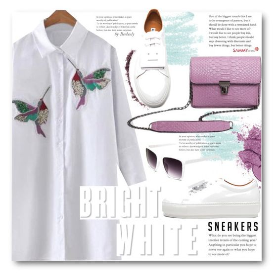 """""""Bright White Sneakers"""" by beebeely-look ❤ liked on Polyvore featuring Acne Studios, NARS Cosmetics, StreetStyle, shirtdress, sneakers, sammydress and whitesneakers"""