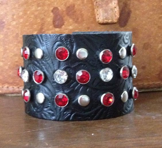 black embossed LEATHER CUFF bracelet with studs & by whackytacky, $39.99