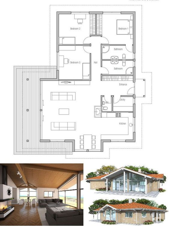 Small house plan in modern architecture three bedrooms abundance of natural light vaulted - Skylight house plans natural light ...