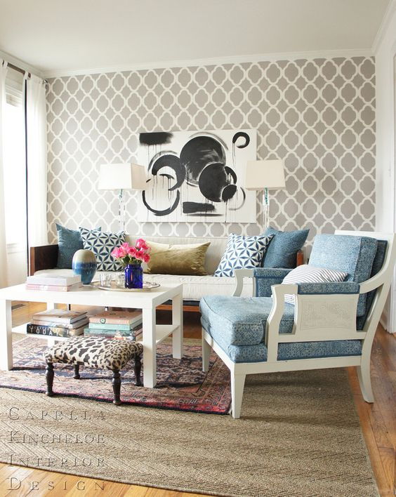 Trellis wallpaper or stencil, white and grey living room with blue and pink
