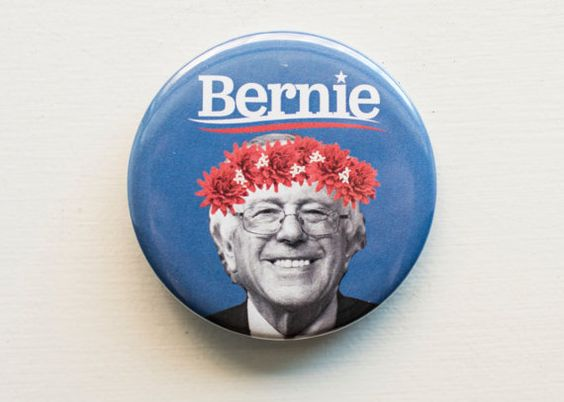 Bernie Sanders 2.25 inch large button with logo and flower crown
