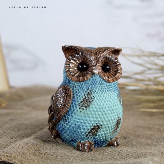 Por Minimalist Cute Owl Home Decorations Ceramics Accessories Living Room Ornaments Crafts