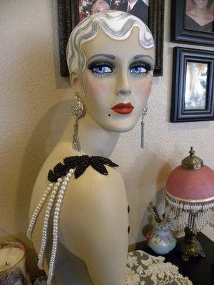 vintage style art deco flapper 26 mannequin head hat stand ebay flapper mannequin. Black Bedroom Furniture Sets. Home Design Ideas
