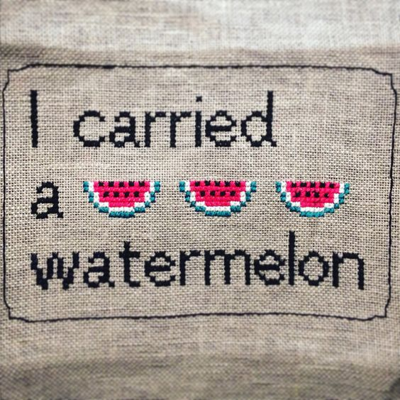 Dirty Dancing - Cross Stitch Pattern - I Carried A Watermelon -  Easy, Quick and Fun Summer Project - PDF Instant Download von RoseHipStitches auf Etsy