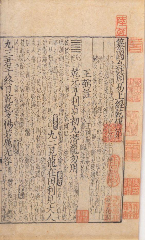 Una página de un libro impreso del I Ching de la dinastía Song (960-1279)