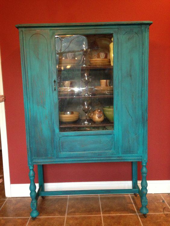 Turquoise distressed wood furniture