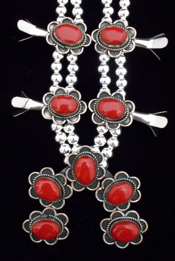 Navajo Silver and Coral Squash Blossom Necklace ALBERT CLEVELAND *925