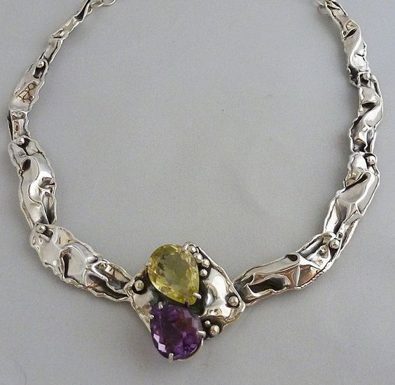 Hand formed sterling silver crinkle necklace with pear shaped amethyst and lemon citrine by thinksterling on Etsy