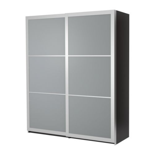 IKEA PAX Wardrobe (black-brown) With Lyngdal Glass Sliding