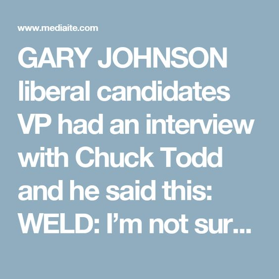 GARY JOHNSON liberal candidates VP had an interview with Chuck Todd and he said this:  WELD: I'm not sure anybody's more qualified than Hillary Clinton to be President of the United States. I mean, that's not the end of the inquiry, though.  Watch, via MSNBC.