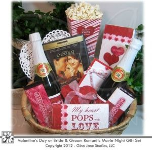 Gift Basket For Bride And Groom Wedding Night : made Valentine Movie Night Gift Basket for Coupols, Bride and Groom ...