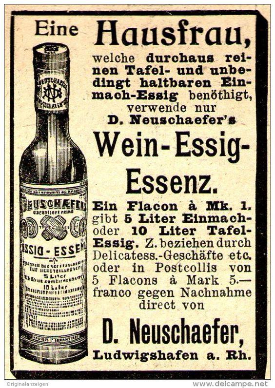 Original-Werbung/ Anzeige 1897 - NEUSCHAEFER WEIN - ESSIG - ESSENZ / LUDWIGSHAFEN - ca. 45 x 60 mm
