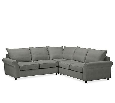 PB Comfort Roll Arm Upholstered 3-Piece L-Shaped Corner Sectional, Knife Edge Polyester Wrapped Cushions, Performance Tweed Slate