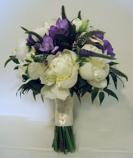 Purple And White Wedding Flower Bouquets: Peony Purple White Cream Ivory