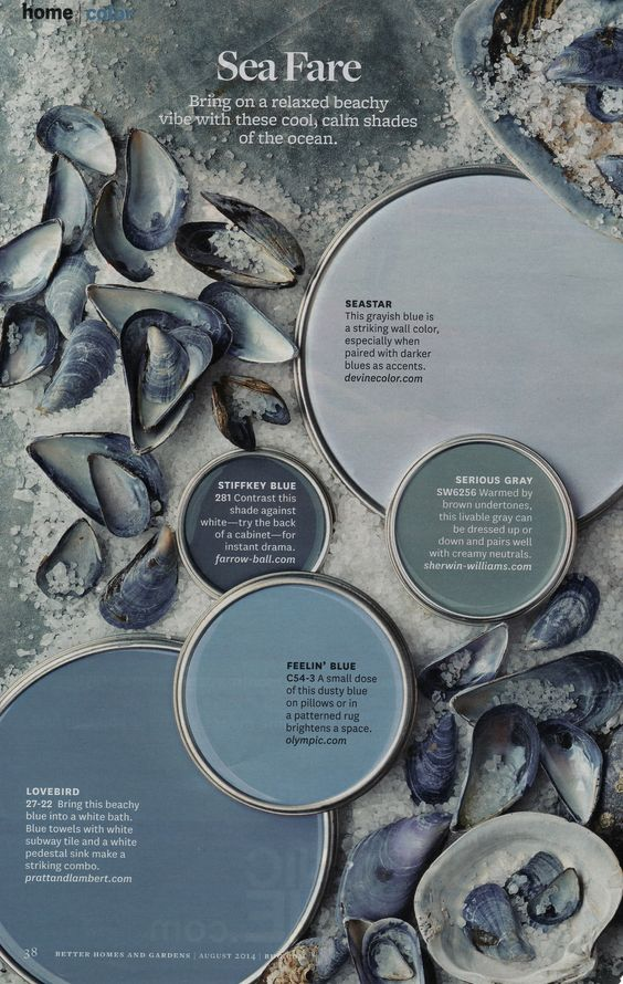 Sea Fare - Cool, calm color palette from Better Homes & Gardens (August 2014).