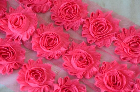 FAST SHIPPING! Hot Pink Chiffon Shabby Rose Trim, Shabby Chic Flower, Frayed Flowers, DIY Flower Headband, Vintage Fabric Flowers, Rosette