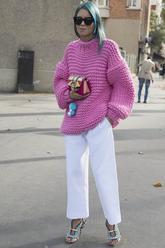 How to wear a colourful jumper in winter