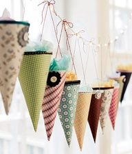 Paper Hanging Cones with Tissue Ball Tops