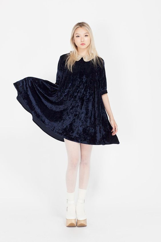 Velvet Spangle Collar Dress
