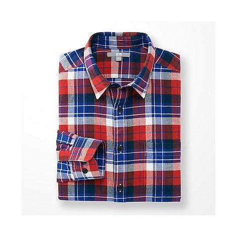 ユニクロ MEN フランネルチェックシャツ(レギュラーカラー・長袖) - UNIQLO ユニクロ