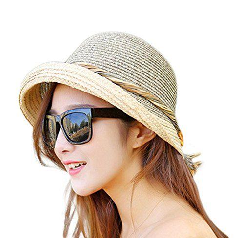 Damen Hut Sonne Breite Krempe Kappe Strand Sommer Visier UV Stroh Hülle Schutz