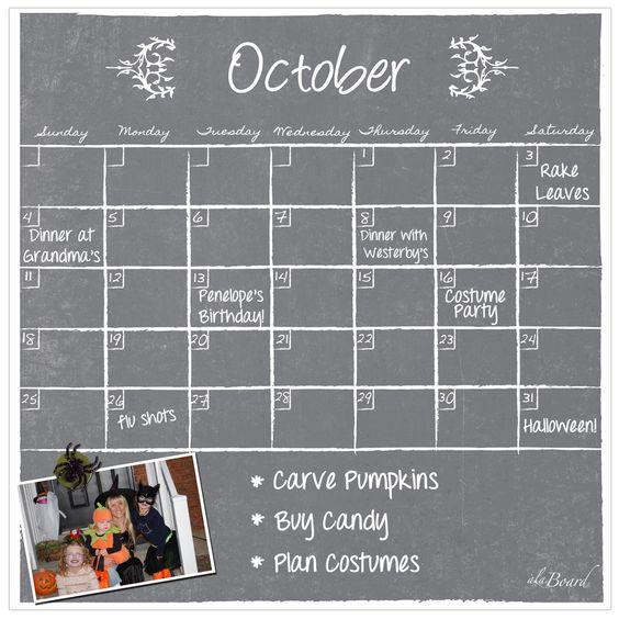 AlaBoard Chalkboard Magnetic Dry Erase Monthly Calendar