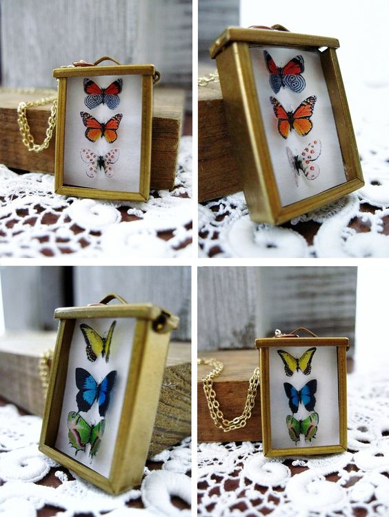 butterfly display necklaces