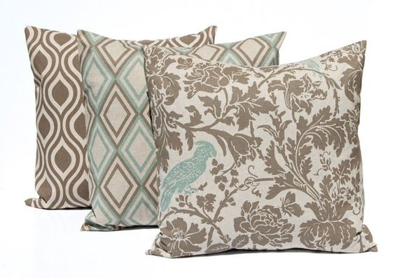 Couch Pillow Covers, Sofa Pillows, Seafoam Green Pillows